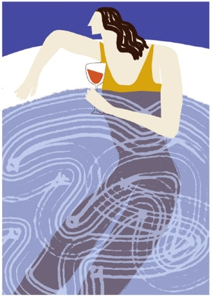 Woman in hot-tub with wine glass